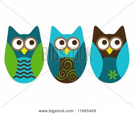three owls blue and brown