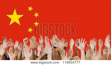 China National Flag Group of People Concept