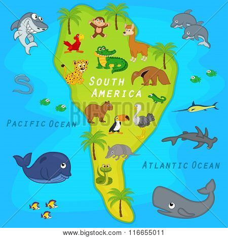 map of the South America with animals