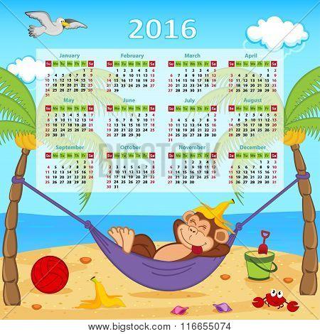 Calendar with monkey on hammock 2016