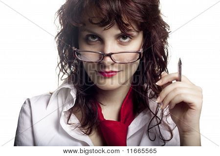 Woman with Glasses and Pen