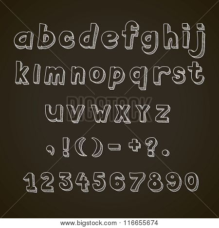 Hand drawn  font,  retro  alphabet  letters lowercase and punctuation on blackboard
