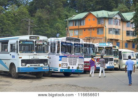 The bus station in Nuwara Eliya. Sri Lanka