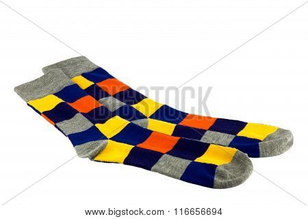 Brightly Coloured Socks On White Background
