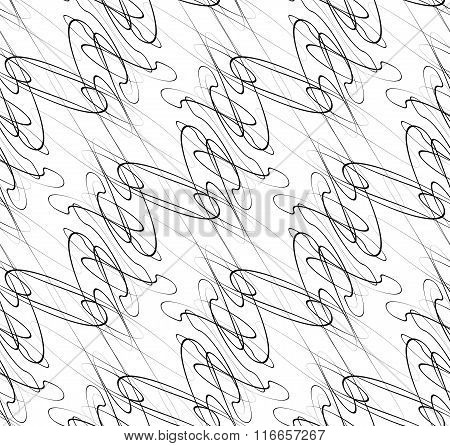Abstract Seamless Background / Pattern With Squiggly Lines. Monochrome Repeatable Vector Texture.