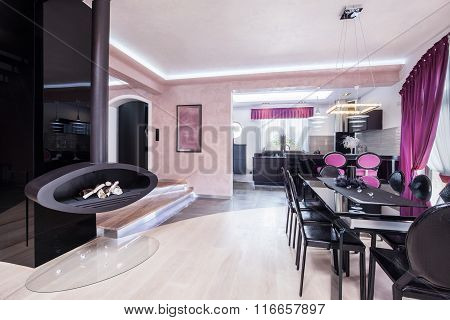 Designed Fireplace In Living Room