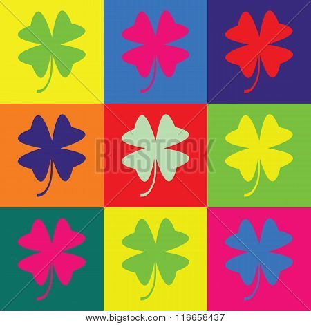 Retro Pop Art Illustration With Clover Leaf