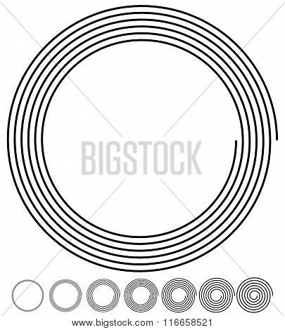 Archimedean, Arithmetic Abstract Spiral Set On White