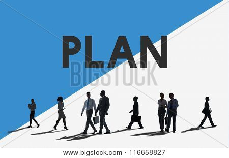 Business People Commuter Plan Planning Concept