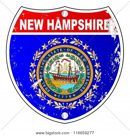 New Hampshire Flag Icons As Interstate Sign