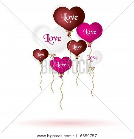 Colorful Helium Balloons Heart Shape With Text And Valentine Eps10