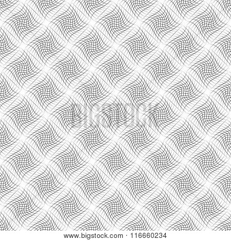 Abstract Grid Pattern With Distorted Squares Of Lines. Abstract Repeatable Monochrome Background.