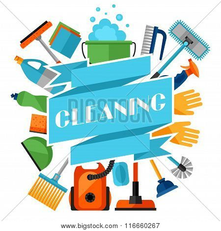 Housekeeping background with cleaning icons. Image can be used on advertising booklets, banners, fla