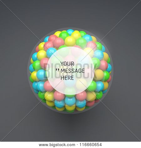 Round Frame with Place for Text. Sphere. 3d Vector Template. Abstract Illustration. 3d Abstract Spheres Composition. Technology Style. Vector illustration for Science, Technology and Network.
