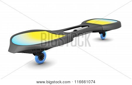 Two-wheeled skateboard isolated on white background. 3d illustra