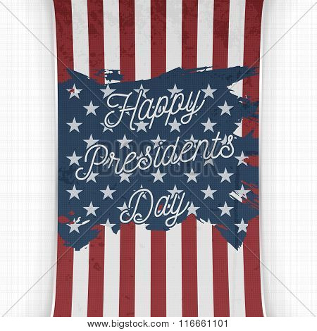 Happy Presidents Day Text on USA national Flag