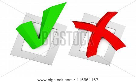 Green checkmark and red cross in the boxes on white background.