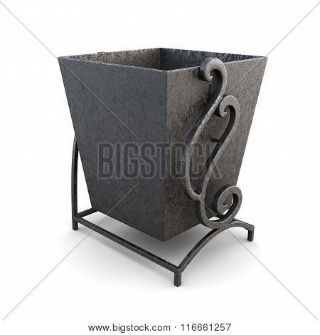 Black trash can on a white background. 3d render image
