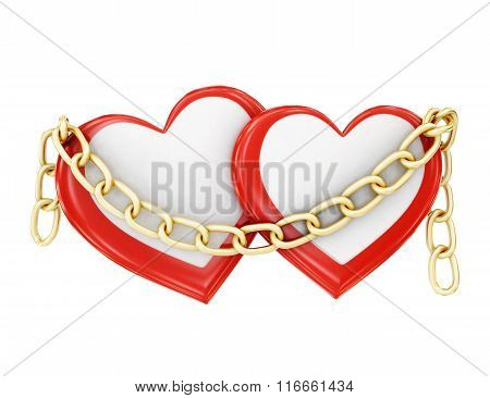Two hearts in chains on a white background. 3d rendering