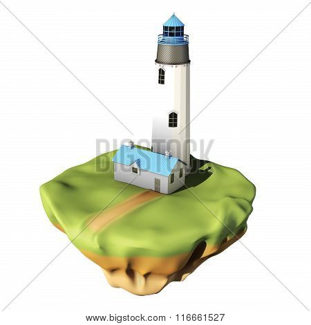 Lighthouse with house isolated on white background. 3d rendering