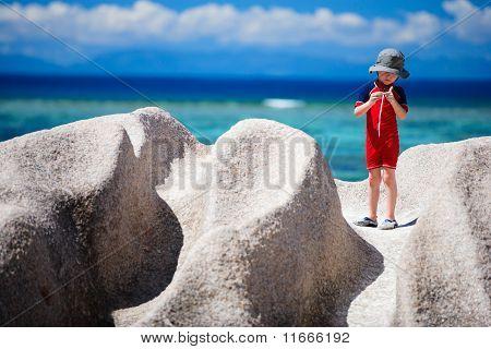 Little Boy On Vacation In Seychelles