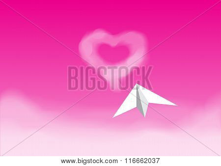 Paper Plane Flying In The Pink Sky
