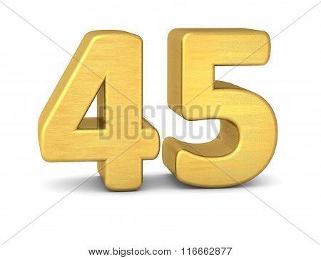 3D Number 45 Gold
