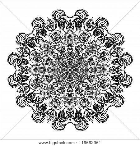circular pattern mandala Mexican ethnic ornament and animals coloring elements vector illustrat