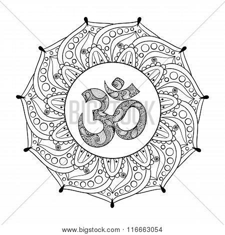 Hand drawn Ohm symbol, indian Diwali spiritual sign Om elegant r