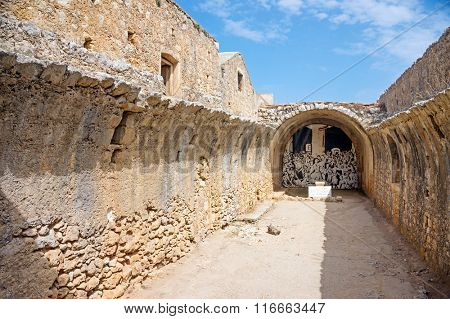 Remains of the gunpowder storage room of Arkadi Monastery, Crete, Greece.