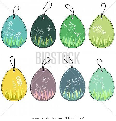 Set with floral  tags.Labels  for spring design, announcements, greeting cards, posters, advertisement.