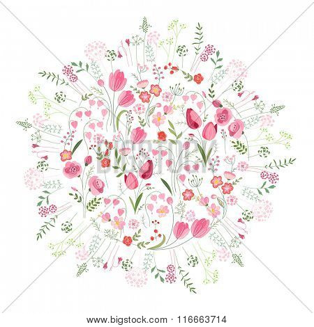 Floral spring template with cute bunches of tulips. For romantic and easter design, announcements, greeting cards, posters, advertisement.