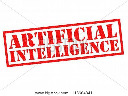 ARTIFICIAL INTELLIGENCE red Rubber Stamp over a white background.