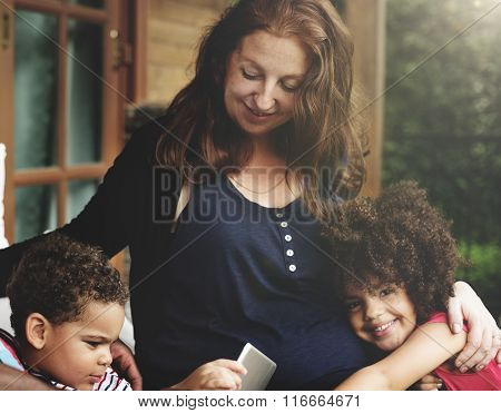 Bonding Carefree Cheerful Parenting Family Relax Concept
