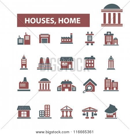 Houses, home, buildings, icons, signs, vector, concept, set. For infographics, mobile, website, application