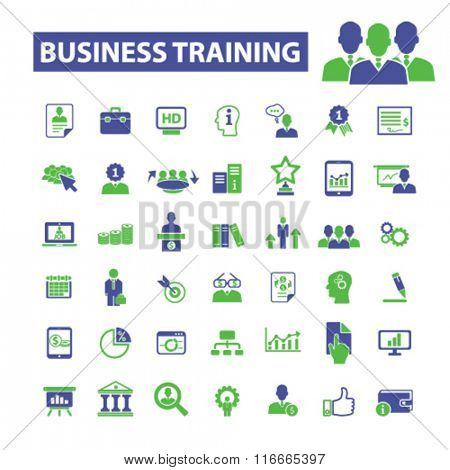 business training, webinar  icons, signs vector concept set for infographics, mobile, website, application