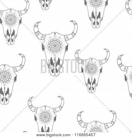Seamless pattern with hand drawn antelope skulls