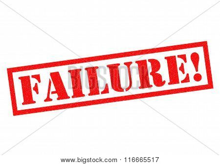 FAILURE! red Rubber Stamp over a white background.