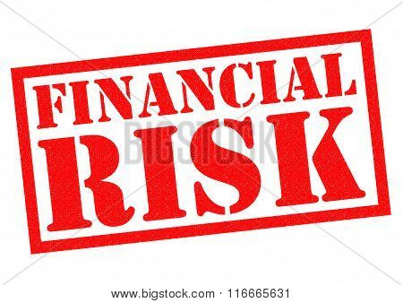 FINANCIAL RISK red Rubber Stamp over a white background.