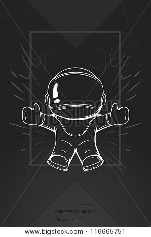 Hand Drawn Cartoon Astronaut In Spacesuit. Line Art Cosmic Vector Illustration Cosmonaut Who Drop Or
