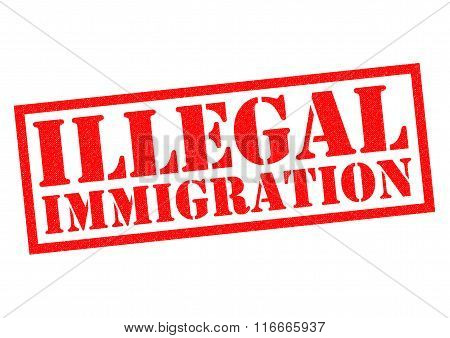 ILLEGAL IMMIGRATION red Rubber Stamp over a white background.