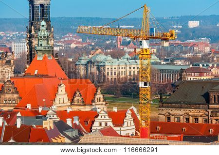 Restoration work in Old Town, Dresden, Germany
