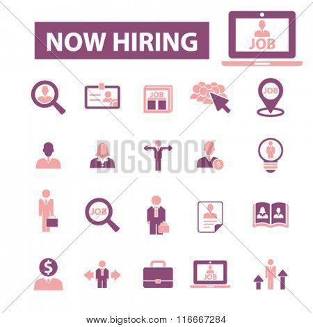 now hiring, career, human resources, job, cv icons set