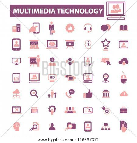 multimedia technology, interactive media, audio, video player icons, signs vector concept set for infographics, mobile, website, application