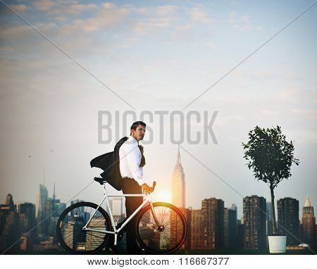 Businessman Bicycle Ride Ecology Concept