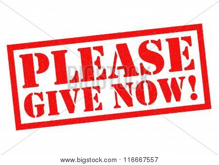 PLEASE GIVE NOW! red Rubber Stamp over a white background.