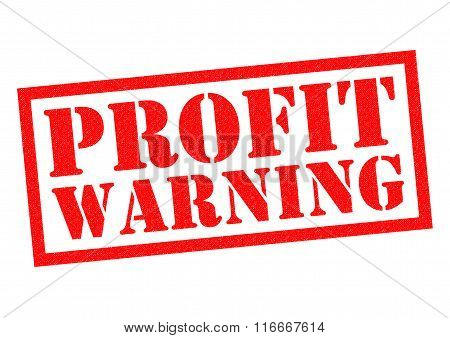 PROFIT WARNING red Rubber Stamp over a white background.