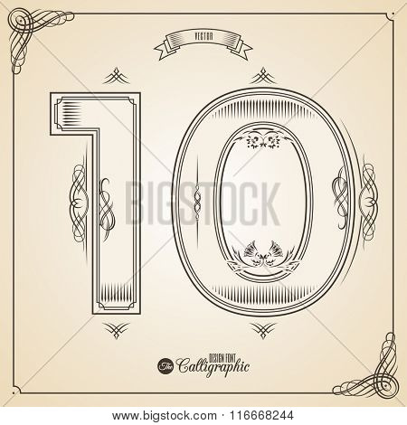 Calligraphic Fotn with Border, Frame Elements and Invitation Design Symbols. Collection of Vector glyph. Certificate and Decor Design Elements. Hand written retro feather Symbol. Number 10