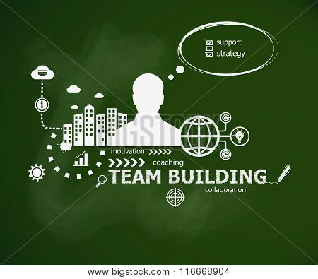 Team Building Design Concept And Man.