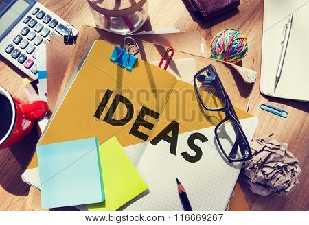 Stationary Office Desk Messy Ideas Creative Concept
